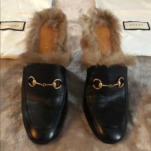 Gucci Princetown Fur-Lined High-Heel Mule, Black